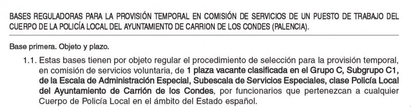 Policía Local en el Ayuntamiento de Carrión de los Condes