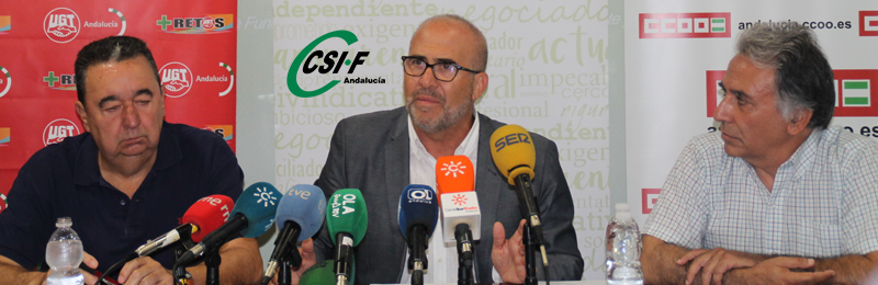 CSIF, UGT y CCOO exigen que el Gobierno no pida la suspensión cautelar de la jornada de 35 horas por el grave perjuicio que ocasionaría a los empleados públicos y a la economía andaluza