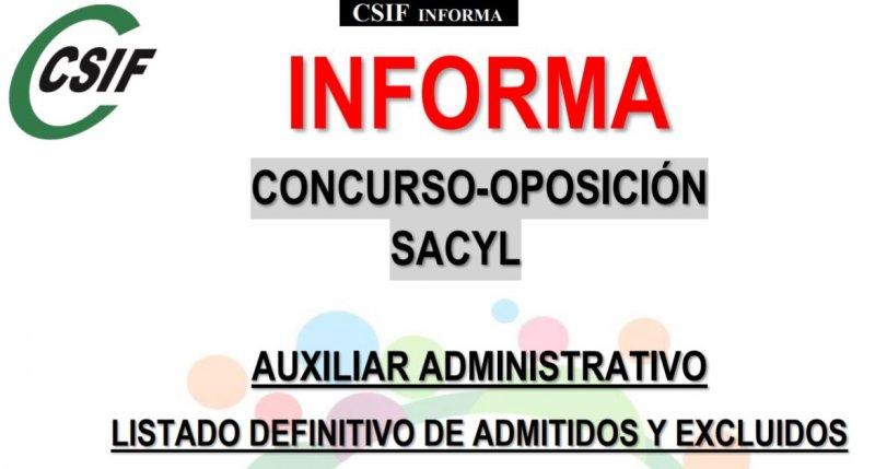 SACYL concurso oposición auxiliar administrativo