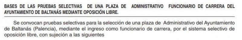 Administrativo en el Ayuntamiento de Baltanás