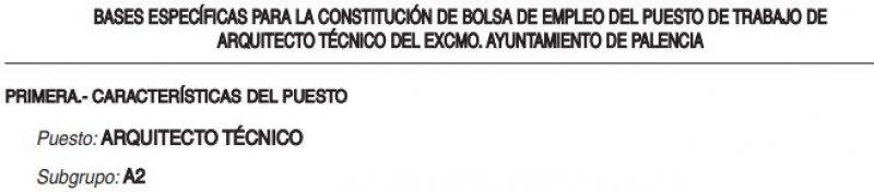 Arquitecto técnico en el Ayuntamiento de Palencia