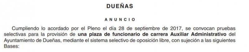 auxiliar administrativo en el Ayuntamiento de Dueñas