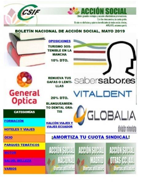 Boletín de Acción Social nacional correspondiente al mes de mayo de 2019