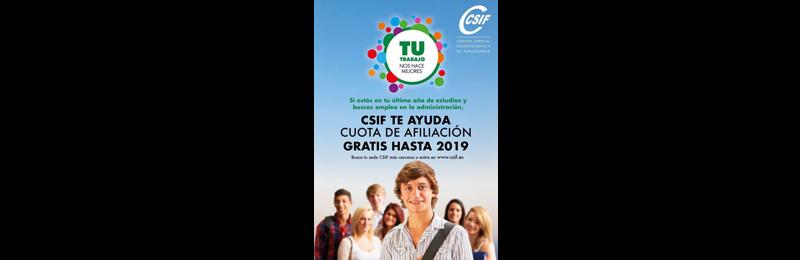 Cuota de afiliación gratis hasta 2019 para estudiantes de último curso