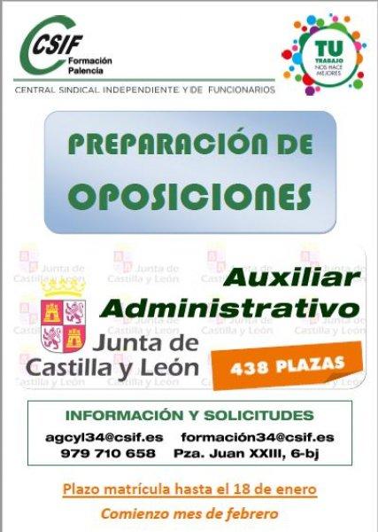 cartel Curso Auxiliar Administrativo JCyL