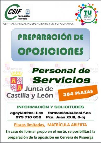 Preparación oposiciones Personal de Servicios JCyL en la zona Norte