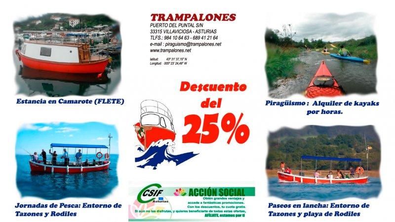 Piragüismo, Pesca, Paseos en barco, Estancia en camarote.El Puntal, Villaviciosa, Tazones