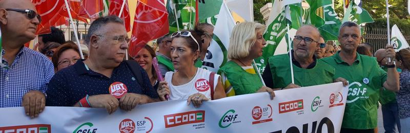 CSIF, UGT y CCOO muestran su satisfacción por la participación de trabajadores y trabajadoras de la Administración Pública andaluza en la concentración de hoy