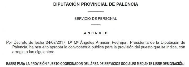 coordinador servicios sociales septiembre 2017 Diputación de Palencia