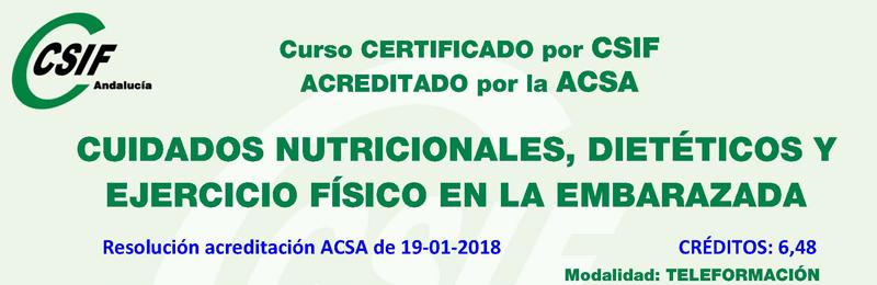 """Curso certificado por CSIF y acreditado por ACSA: """"Cuidados nutricionales, dietéticos y ejercicio físico en la embarazada"""""""