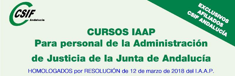 Cursos del IAAP para personal de Justicia de la Junta de Andalucía (2 cuatrimestre 2018)