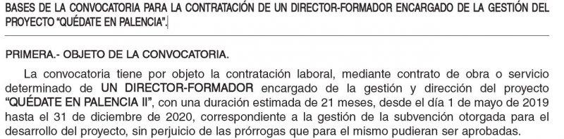 director formador encargado de la gestión del proyecto Quédate en Palencia