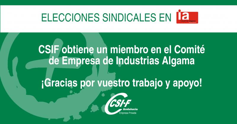 CSIF obtiene representación sindical en Industrias Algama