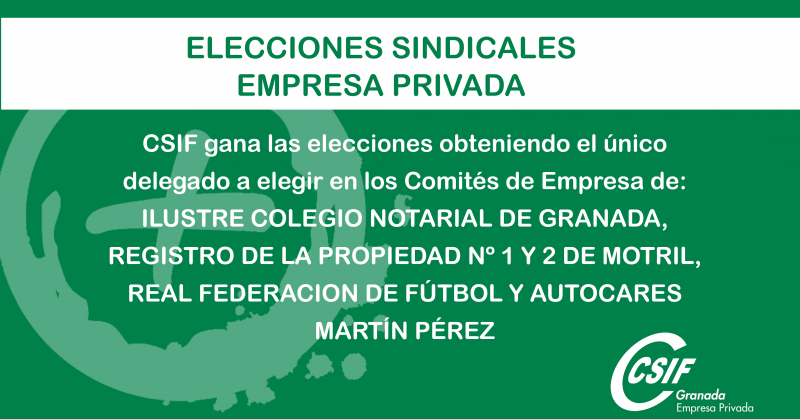 CSIF avanza y toma presencia en nuevas empresas privadas de Granada