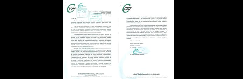 CSIF-A reclama a Empleo explicaciones por una subvención a una campaña electoral de UGT que podría vulnerar la libertad sindical