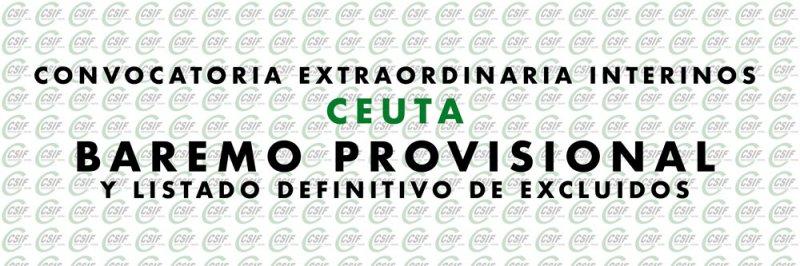 Convocatoria Extraordinaria Ceuta, baremo provisional