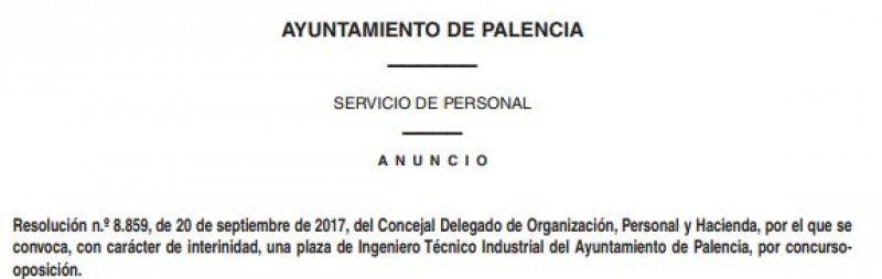 ingeniero técnico industrial en el ayto. de Palencia