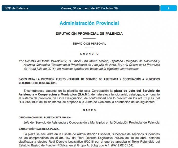 Convocatoria Jefe de servicio de Asistencia y Cooperación Municipios, libre designación, en la Diputación de Palencia