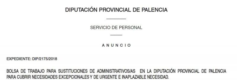listado aspirantes bolsa de administrativos en la Diputación de Palencia