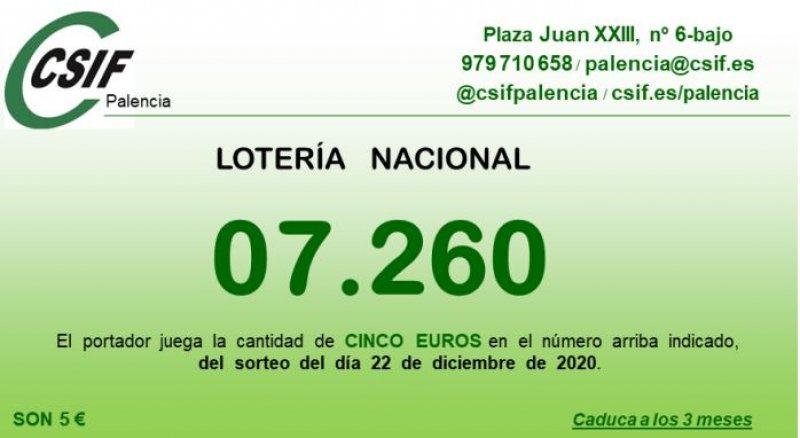 lotería de Navidad CSIF Palencia