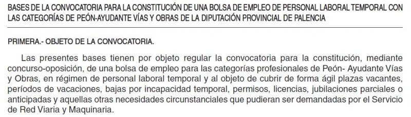 peón de vías y obras en la Diputación de Palencia