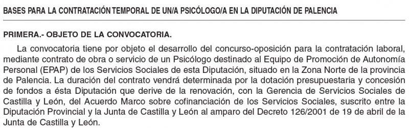 Psicólogo en la Diputación de Palencia