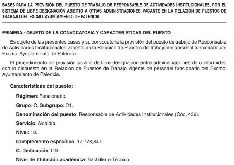 Responsable de actividades institucionales en el Ayuntamiento de Palencia