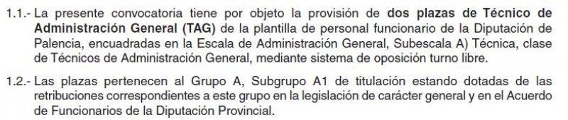 2 plazas de técnico de administración general en la Diputación de Palencia
