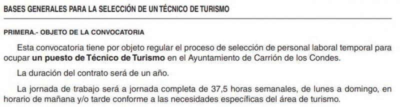 Técnico turismo del Ayuntamiento de Carrión de los Condes