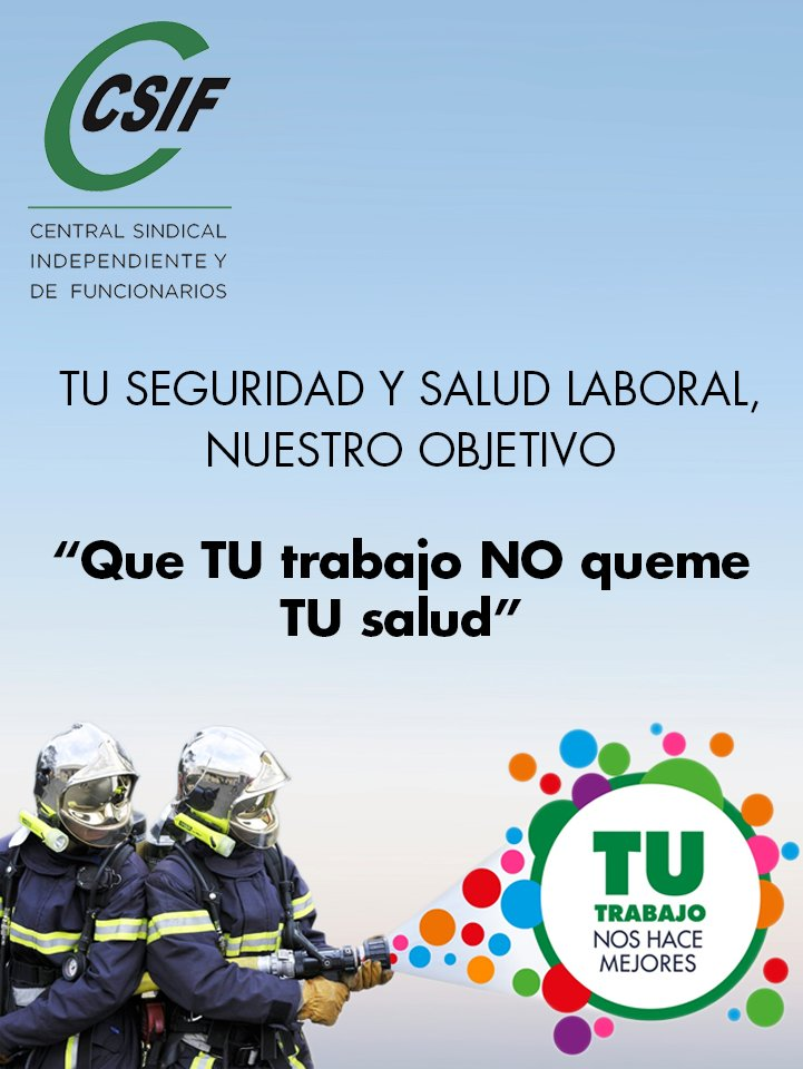 Cartel Campaña de Prevención de Riesgos Laborales en Bomberos.