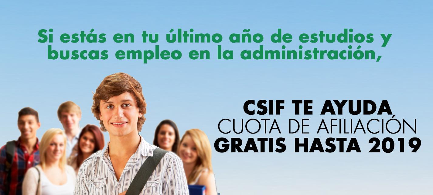Afiliación gratuita para estudiantes de último curso