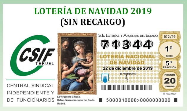 LOTERÍA DE NAVIDAD 2019 (SIN RECARGO)