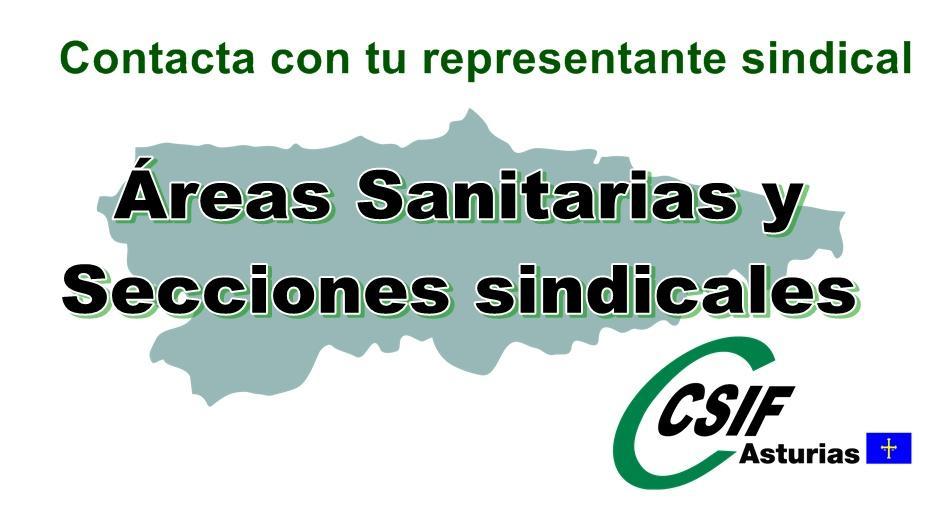 Áreas sanitarias/secciones sindicales