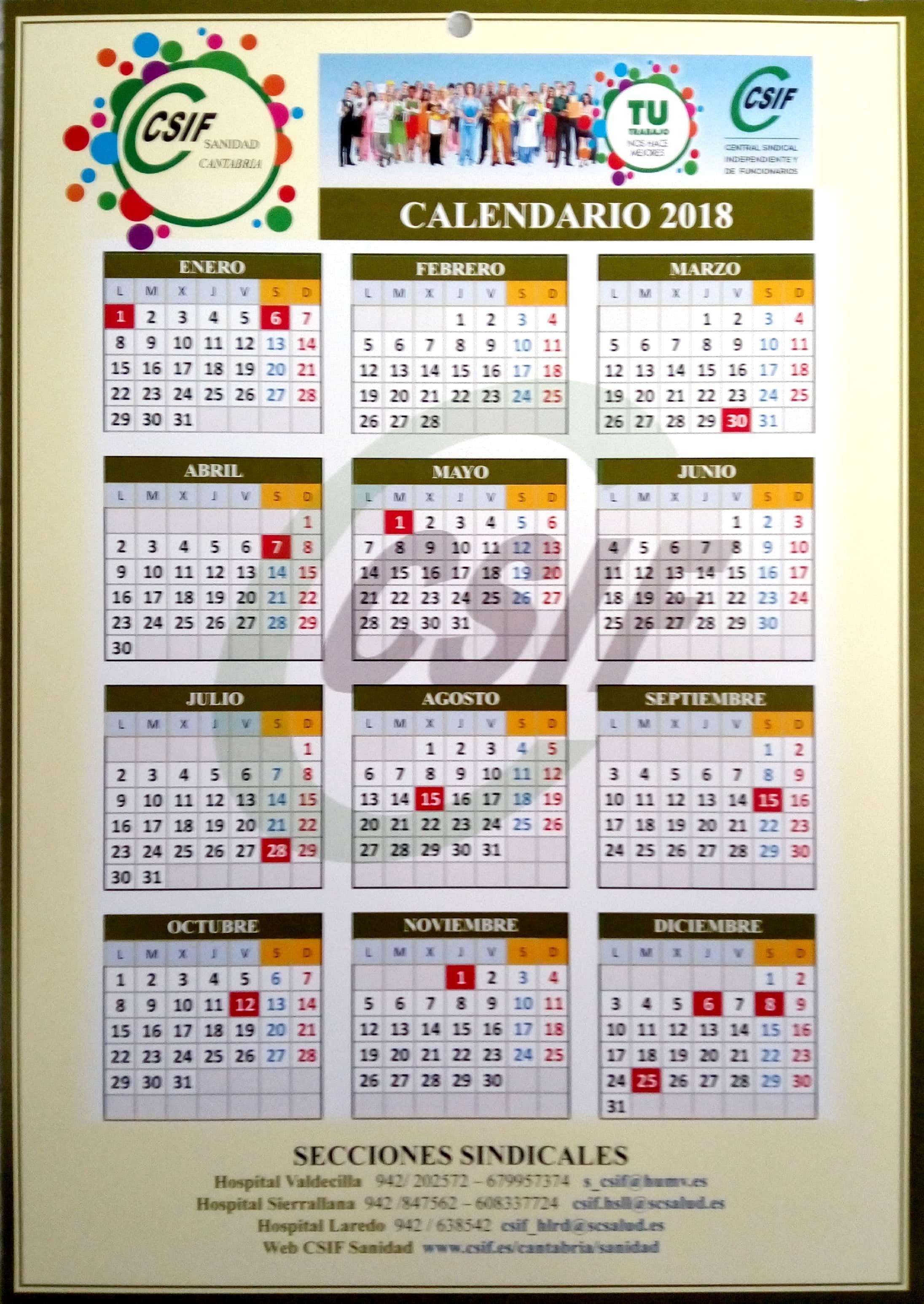 Calendario 2018 CSIF Sanidad Cantabria