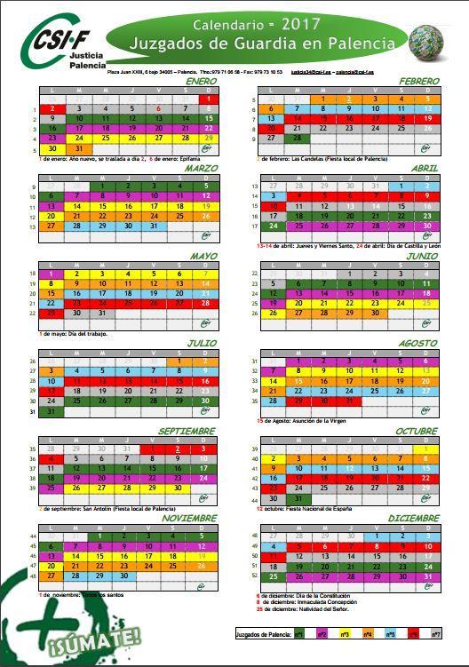 Calendario Justicia 2017