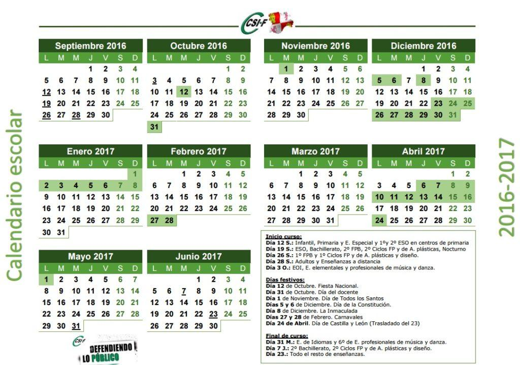 Calendario escolar Castilla y León 2016-2017
