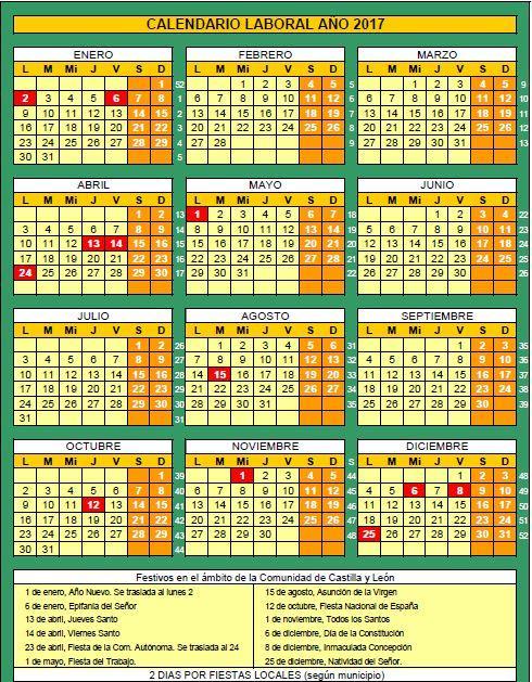 Calendario laboral Castilla y León 2017