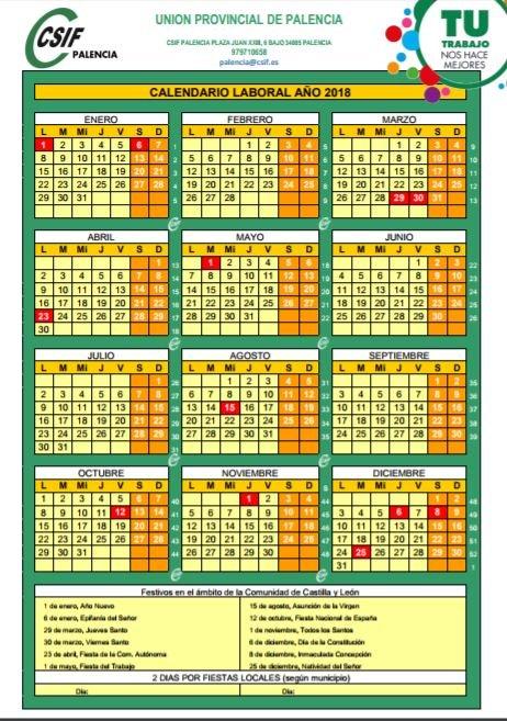 Calendario laboral Palencia 2018