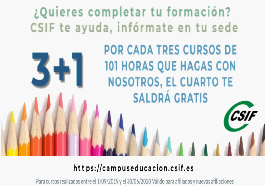 CSIF: cursos de formación 2019-20. Oferta 3+1