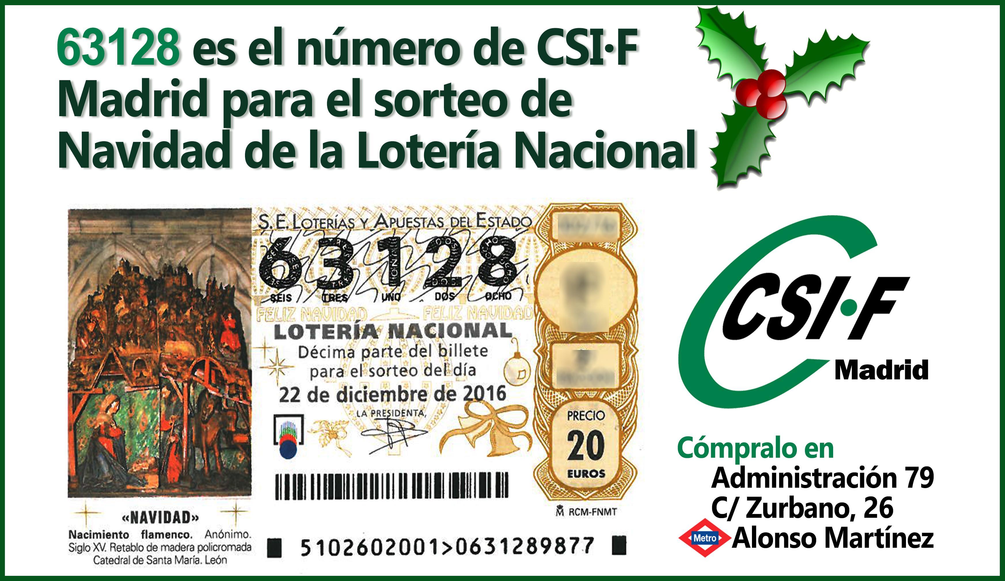 Décimo Lotería Navidad CSIF Madrid