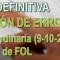 CORRECCIÓN ERRORES Listados DEFINITIVOS Bolsa Extraordinaria FOL