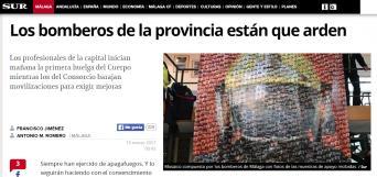 Mosaico compuesto por los bomberos de Málaga con fotos de las muestras de apoyo recibidas. / Sur