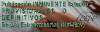 Publicación INMINENTE de listas PROVISIONALES y DEFINITIVAS de las Bolsas Extraordinarias
