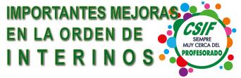 IMPORTANTES MEJORAS EN LA ORDEN DE INTERINOS