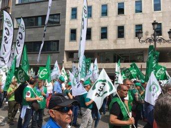 En la imagen, un grupo de policías locales afilados a CSIF en la Región de Murcia, durante la manifestación celebrada hoy en Madrid