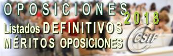 Listado DEFINITIVO de MÉRITOS para las Oposiciones 2018