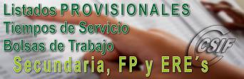 Listados PROVISIONALES de las Bolsas de Trabajo de Secundaria, FP y ERE