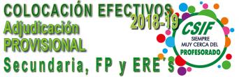 Publicada la Adjudicación PROVISIONAL de Destinos para Secundaria, FP y ERE´s