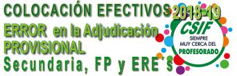 Nota informativa -  ERROR en la adjudicación provisional de destinos de Secundaria
