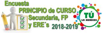 ENCUESTA DE PRINCIPIO DE CURSO EN SECUNDARIA - FP y ERE´s 2018-2019